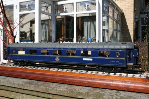 "CIWL Saloon Car fleet number 4257 ""Train Bleu"" Paris-Nice-Ventimiglia destination boards."