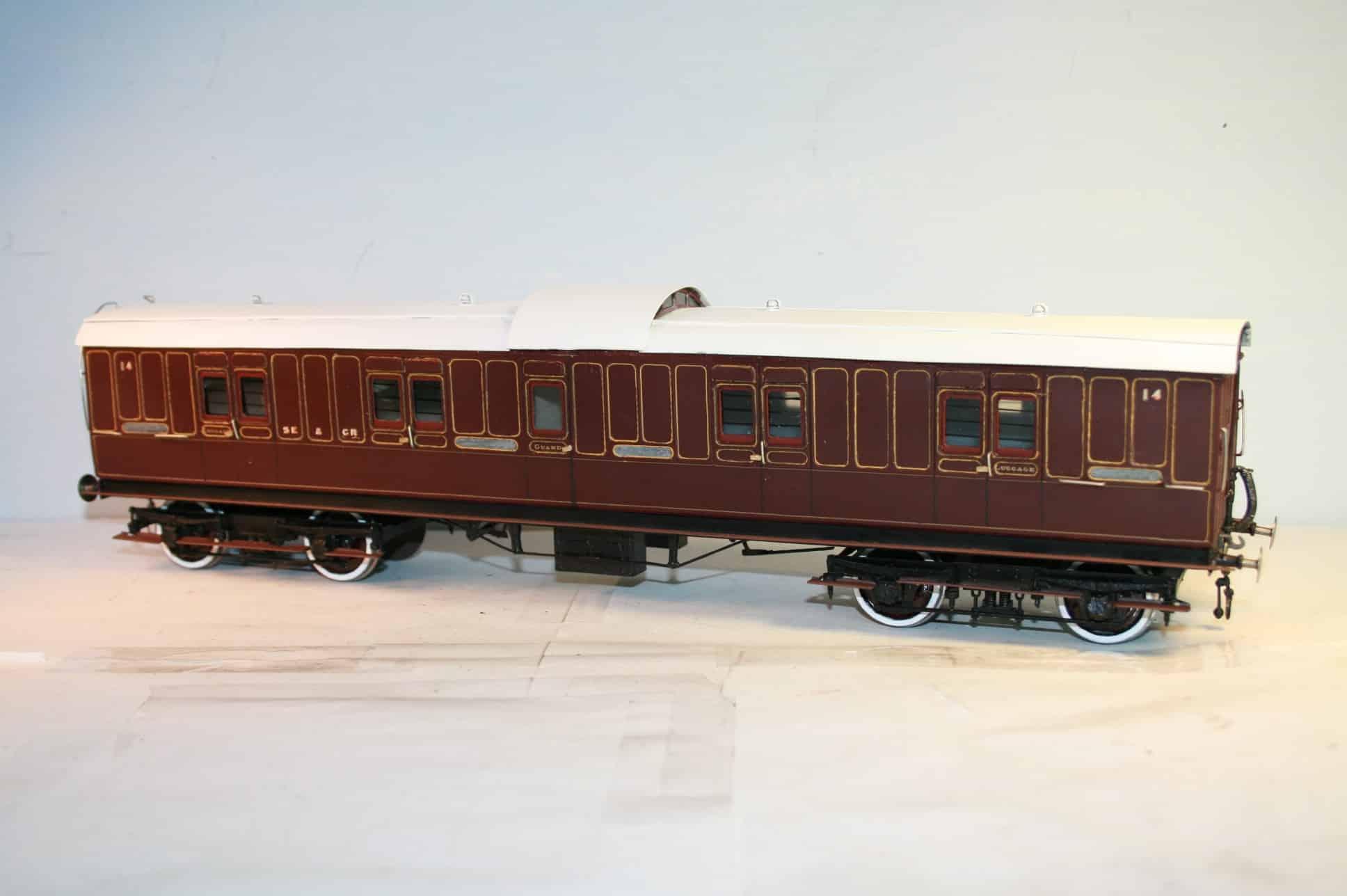 SE&CR 50ft. 8T Bogie Luggage Brake number 14 in lined crimson livery