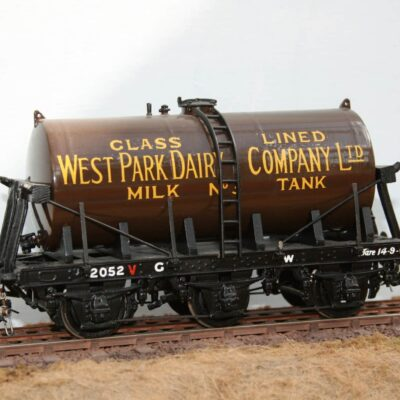 West Park Dairy Ltd.Tank No.3 on GWR 6 wheel wagon frame r/n 2052