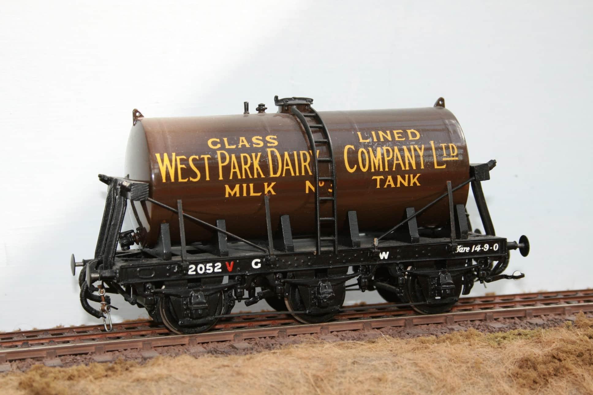 West Park Dairy Ltd.Tank No.3 on GWR 6 wheel wagon frame r/n 2052
